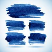 Brushstroke banners. Ink blue watercolor spot backgrounds.Template with shadow — Stock Vector