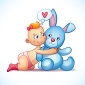 Baby girl redhead hugs bunny toy on a white background. Easter bunny plush toy. Little girl lovingly looking at the bunny — Stock Vector