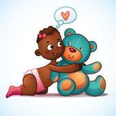 African American girl hugs Teddy Bear toy on a white background. Teddy plush toy. Little cute girl lovingly looking at the bear — Stock Vector