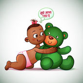 Little Indian girl hugging teddy bear green. She thinks, I love you. Little girl looking at teddy bear and smiling — Stock Vector