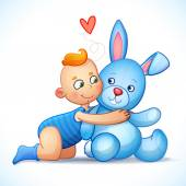 Baby boy redhead hugs bunny toy on a white background. Easter bunny plush toy. Little boy lovingly looking at the bunny — Stock Vector