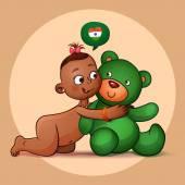 Little Indian girl hugging teddy bear green. — Stock Vector