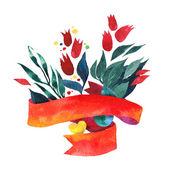 Beautiful Floral Greeting Card. Bright illustration, invitation card — Stock Vector