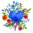 Vintage background with flowers in love and flower heart, Beautiful watercolor floral heart. Love Heart icon. Summer botanical elements.  Love card with watercolor floral bouquet. — Stock Photo #71378613