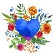 Vintage background with flowers in love and flower heart, Beautiful watercolor floral heart. Love Heart icon. Summer botanical elements.  Love card with watercolor floral bouquet. — Stock Photo #71378625