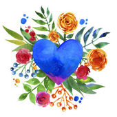 Vintage background with flowers in love and flower heart, Beautiful watercolor floral heart. Love Heart icon. Summer botanical elements.  Love card with watercolor floral bouquet. — Foto Stock