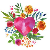 Vintage background with flowers in love and flower heart, Beautiful watercolor floral heart. Love Heart icon. Summer botanical elements.  Love card with watercolor floral bouquet. — Stock Photo