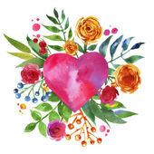 在爱和花的心,美丽水彩花卉心花的老式背景。爱的心图标。夏季植物元素。爱卡与水彩的花香. — 图库照片