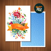 Beautiful Floral Greeting Card Bright illustration invitation card for wedding,birthday and holiday and cute summer background Mothers Day floral greeting Ribbon decorative illustration — Stock Vector