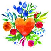 Aşk ve çiçek kalp, güzel suluboya çiçek kalp çiçeklerle antika arka plan. Aşk kalp simgesi. Yaz botanik öğeleri. Aşk kartı suluboya çiçek buketi ile. — Stok Vektör
