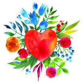 愛と花の心、美しい水彩花の心の花でビンテージの背景。愛ハートのアイコン。夏の植物の要素。水彩花の花束のカード. — ストックベクタ