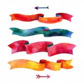 Watercolors ribbons and banners for text — Stock Photo