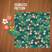 Seamless flower pattern set. Summer tiny floral backgrounds on wood planks. — Stock Vector
