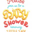 Baby shower card invitation. Typography greeting card little baby girl. — Stock Photo #71934717