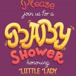 Baby shower card invitation. Typography greeting card little baby girl. — Stock Photo #71934729