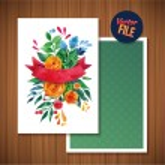 Beautiful Floral Greeting Card Bright illustration invitation card for wedding,birthday and holiday and cute summer Mothers Day floral greeting Ribbon decorative illustration — Stock Vector #72072797