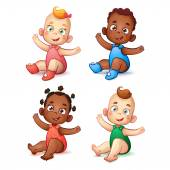 Cute African American baby boy and girl.  Sweet white skin children. Happy Child With Open Arms — Stock Vector