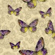 Seamless floral pattern with colorful butterflies, hand-drawing. — Stock Vector #63077635
