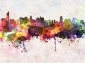 Jakarta skyline in watercolor background — Stock Photo