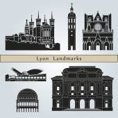 Lyon landmarks and monuments — Stock Vector