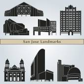 San Jose landmarks and monuments — Stock Vector