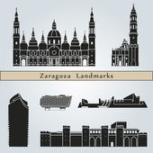 Zaragoza landmarks and monuments — Stock Vector