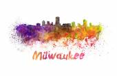 Skyline di milwaukee in acquerello — Foto Stock