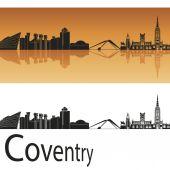 Coventry skyline in orange background  — Stock Vector