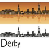 Derby skyline in orange background  — Stock Vector