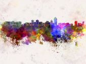 Albuquerque skyline in watercolor background — 图库照片