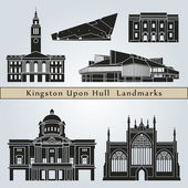 Kingston Upon Hull landmarks and monuments — Stock Vector
