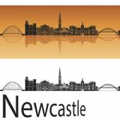 Newcastle skyline in orange background  — Stock Vector