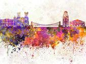 Bristol skyline in watercolor background — Stockfoto