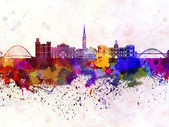 Newcastle skyline in watercolor background — Stock Photo