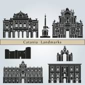 Catania landmarks and monuments — Stock Vector