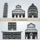 Pisa landmarks and monuments — Vecteur