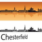 Chesterfield skyline in orange background  — Stok Vektör