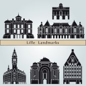 Lille landmarks and monuments — Stock Vector