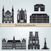 Reims landmarks and monuments — Stock Vector