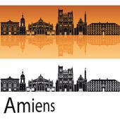 Amiens skyline in orange background  — Stock Vector