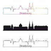 Strasbourg skyline linear style with rainbow — Stock Vector