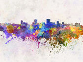 Anchorage skyline in watercolor background — Stock Photo