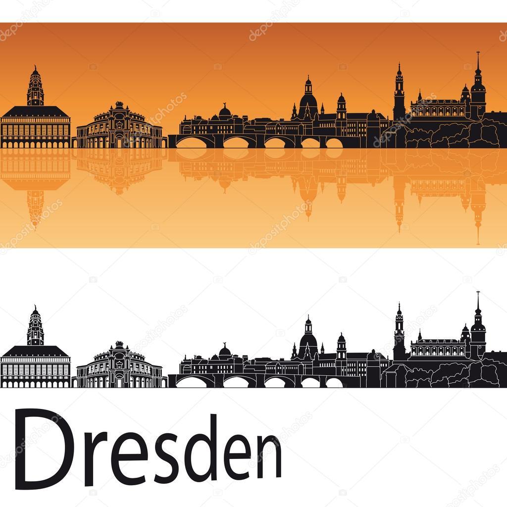 dresden skyline in orangefarbenen hintergrund. Black Bedroom Furniture Sets. Home Design Ideas