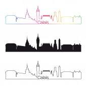Calais skyline linear style with rainbow — Stock Vector