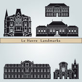 Le Havre landmarks and monuments — Stock vektor