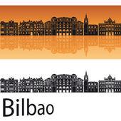 Bilbao skyline in orange background  — Vetor de Stock