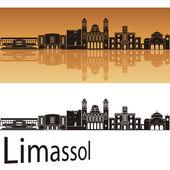 Limassol skyline in orange background — Stock Vector