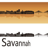 Savannah skyline in orange background  — Stock Vector