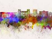 Tarento skyline in watercolor background — Stock Photo