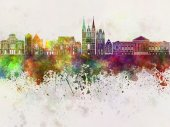 Angers skyline in watercolor background — Stock Photo